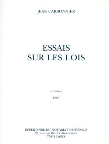 Essais sur les lois, 2e édition
