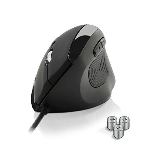 NEW WAY - Vertikale und ergonomische Maus 3200 DPI, USB-Kabel, verstellbares Gewicht - Ideal, um Ihr Handgelenk, Ihre Hand und Ihren Unterarm zu entspannen - Mausarm- und Epicondylitis-Prävention