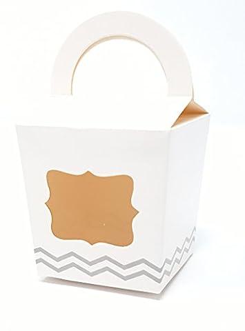 Ibex Single Cupcake Box weiß mit Zickzack Muster, 10Stück (Single Cupcake Box)