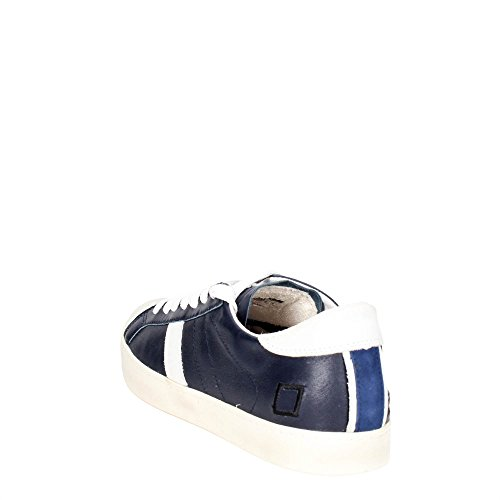 Basket D.A.T.E. modèle Hill Low en peau bleu et chamois blanc. Blanc