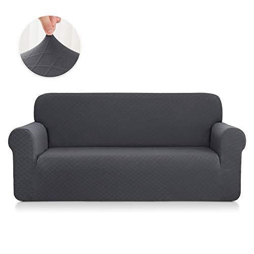 CHUN YI Rhombus Elastisch Sofaüberzug, Sofahusse, Sofabezug für Sofa, Sofaschutz (2-Sitzer, Grau)