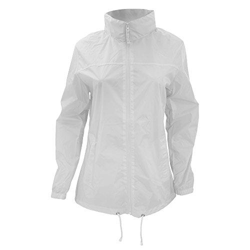 B&C Womens Full Zip Siroco Raincoat, (White 000), 10 (Size:Small)