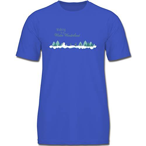 Weihnachten Kind - Walking in a Winter Wonderland Schnee - 164 (14-15 Jahre) - Royalblau - F130K - Jungen Kinder T-Shirt