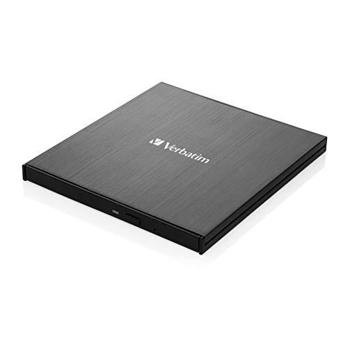 Verbatim Externer Slimline-Blu-ray-Writer Ultra HD 4K - kompakter, leichter Brenner zum Erstellen großer Datei-Backups, schwarz, 43888