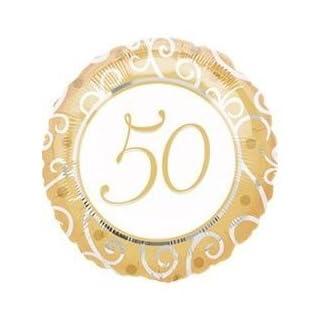 ANAGRAM Folienballon 50er Gold, Heliumfüllung:Gefüllt