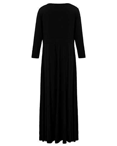 ZANZEA Femmes Grand Taille Col V Manches Longues Bandage Cocktail Robe Longue Maxi Robe Noir