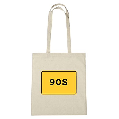JOllify 90s di cotone felpato b6057 schwarz: New York, London, Paris, Tokyo natur: Ortsschild