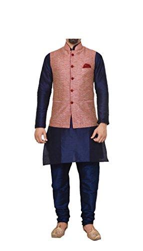 Mag Men's Silk Kurta Pyjama With Pink Waistcoat (Rg-10759_Navy Blue_42)