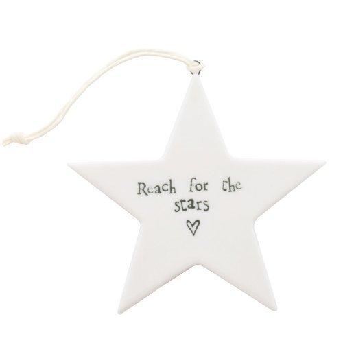 "East of India - Stella in porcellana, con scritta ""Reach for the Stars"" (in lingua inglese)"