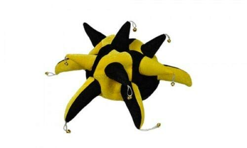 Flagmania® Schwarz und Gelb Supporters Jester Hut – Kostüm + 59 mm ()
