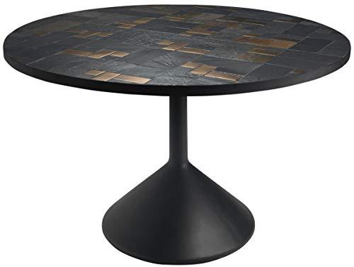 Casa Padrino Luxus Esstisch Mehrfarbig/Schwarz Ø 120 x H. 76 cm – Runder Küchentisch mit Schieferplatten & Keramik Fliesen