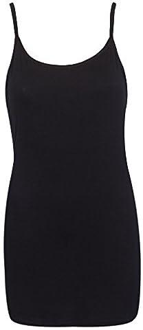 Womens Plain Sleeveless Ladies Stretch Round Scoop Neckline Camisole Long Strappy Vest Tank Top Plus Size Black Size 22 - 24 (XXXL)