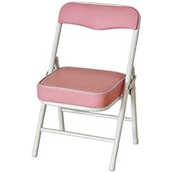 Klappstühle CJC Falten Stuhl Schemel Kind Kinder Sitz Zurück Sich Ausruhen Röhrenförmig Stehlen Rahmen PU Leicht Dauerhaft 33 * 28 * 53CM (Farbe : Pink)