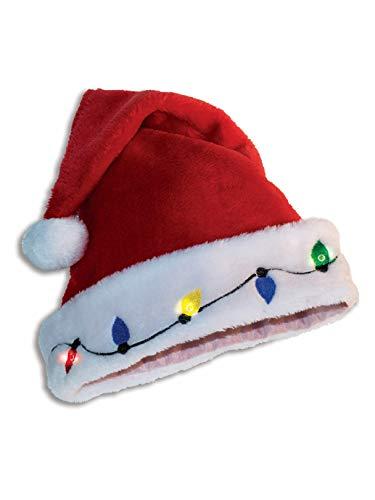 Light Up Santa Hat Adult Costume Accessory (Up Light Santa Hat)