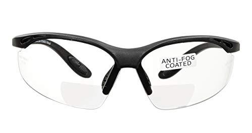 voltX 'Constructor' BIFOKALE Schutzbrille mit Lesehilfe (KLAR +2.5 Dioptrie) CE EN166F Zertifiziert/Sportbrille für Radler enthält Sicherheitsband - Bifocal Safety Glasses