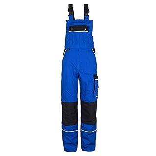 TMG® Komfortable Herren Latzhose | Männer Arbeitslatzhose mit Reflektoren und Taschen für Kniepolster | Blaumann für Sanitär, Metallbau | Blau 52