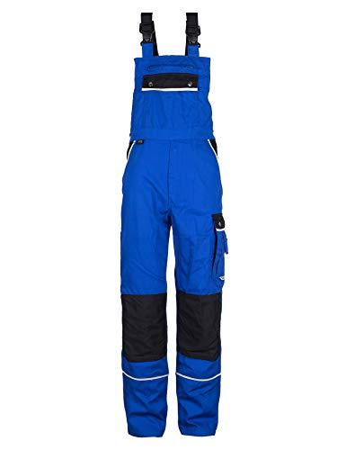 TMG® Komfortable Herren Latzhose | Blau | Männer Arbeitslatzhose mit Reflektoren und Taschen für Kniepolster | Blaumann für Handwerker im Bereich Sanitär 60