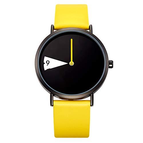 friendGG Neue Uhr-Frauen-Uhr-kreative Armbanduhr-Dame Clock Rotate Leather Band Wristwatches