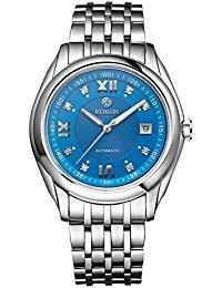 Binlun montre automatique pour homme en acier inoxydable Grande Face montres pour homme avec date (Bleu)