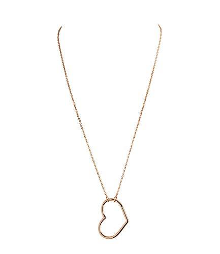 SIX Lange Damen Halskette, Ankerkette mit großem Gold-farbenen Anhänger in Herzform, glänzende goldene Oberfläche (779-591)