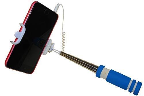 First-Us Canne pour Photo Selfie Mini Bleu Monopod Barre Télescopique Bras Télescopique Support Téléphone Portable Trépied Bras D'Extension