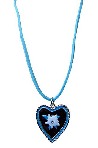 OS03 Exclusives Dirndl Accessoire, Halskette passend zum Dirndloutfit, Farbe Blau