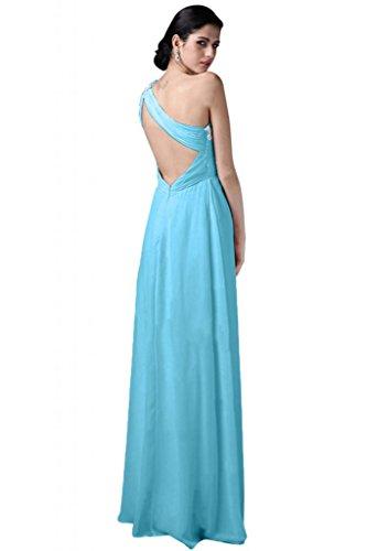 Sunvary elegante Chiffon Una spalla Sweetheart vestito da damigella d'onore abito da sera Blu