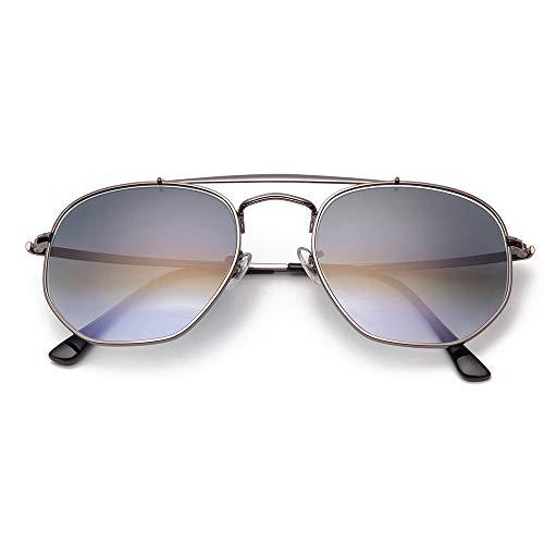 GUOTAIYH Mode Sonnenbrillen Hexagonal -Sonnenbrille -Frauen Aber 54Mm Glaslinse Spiegel -Schwarz -Runde Sonnenbrillen Uv400Farbverlauf Grau