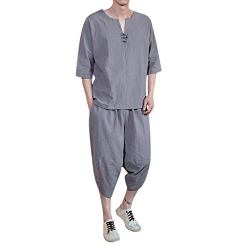 Herren Sommer chinesischen Stil dünne große Leinen Tang Kleid Kurzarm Set (Junioren Neon-kleider)
