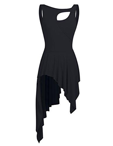 Asymmetrischer Turnanzug (YiZYiF Damen Ballett Trikot Ballettanzug Latein Tanz-Kleider Gymnastikanzug Turnanzug Leotard mit Asymmetrisch Rock Schwarz X-Large)