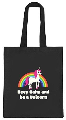Einhorn natur Jutebeutel Stoffbeutel mit Rainbow - Keep Calm And Be A Unicorn Motiv von ShirtStreet schwarz natur