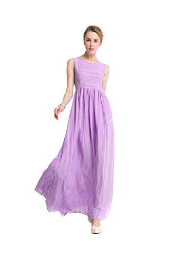 Europäische Und Amerikanische Temperament Taille Kleid Rundhals Ärmel Gestreift Purple