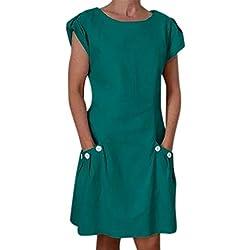 Btruely Vestidos de Fiesta para Bodas Talla Grandes Vestidos en Algodón y Lino Vestido Casual de Manga Corta con Botones Vestidos en algodón de Color sólido para Mujer