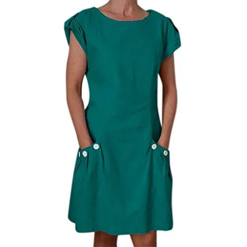 DQANIU- Damenkleider, Kleidung, Schuhe & Accessoires - Kleid Damen Casual Solid Rüschentaschen O-Neck Shift Daily Buttoned-Decor Kleider, S-XXL (Mädchen Shift Kleider)