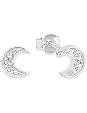 amor Damen-Ohrstecker Mond 925 Silber rhodiniert Zirkonia weiß 0.7 cm - 2012822
