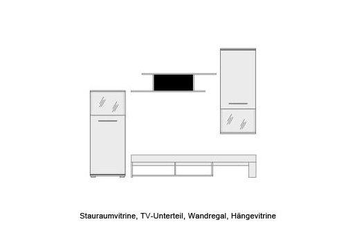 Wohnwand 5-tlg. mit glänzend weißen Fronten mit Abs. in schwarz, Korpus in weiß, Gesamtmaß: B/H/T ca. 228/183/47 cm - 2