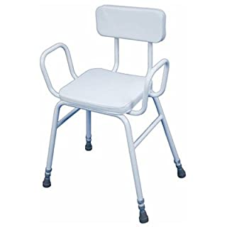 Shower Perching Stool with Arms & Padded Backrest Adjustable Height