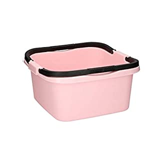 Arti Casa Plastic Rectangular Washing Up Storage Carry Cleaning Bowl with Handles (Pastel Pink)