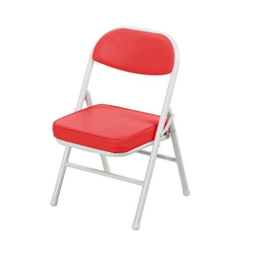 CAO-LIFE Klappstuhl Für Kinder |Stabiler Stahlrahmen, Bequemer Polstersitz, Einfach Zu Lagern |PU Kissen Stuhl (Color : Red) -
