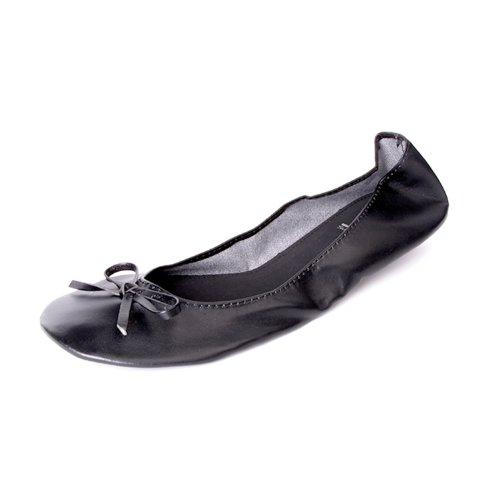 Scarpe ballerina piegabille con nastro opaco disponibile in nero colori taglia 39 con una borsa in raso