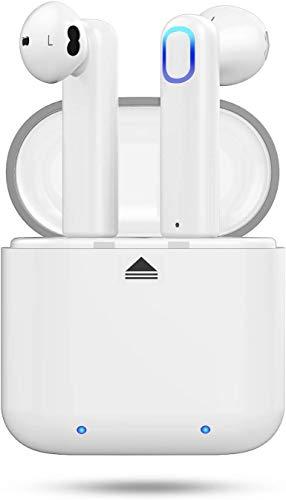 Huyeta Auriculares Bluetooth Auriculares Verdaderamente Inalámbricos Mini Auriculares In-Ear Auriculares sin Cables con Control Táctil y Manos Libres (White)