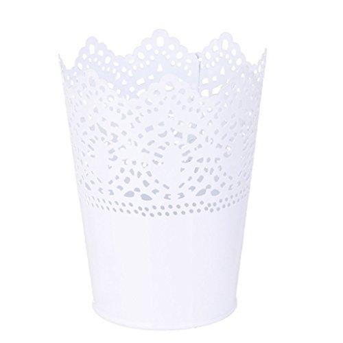 Da.Wa Schneiden Pflanze Vase Topf Stifthalter Veranstalter Schreibtisch Organizer Aufbewahrungskorb Blumentopf Make-up Bürstenhalter,Weiss,14x10x7cm,Set of 1