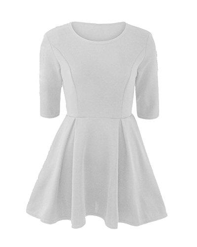 Femme Couleur Unie Taille Fine 3/4 Manche Bandage Slim Fit Robe Blanc