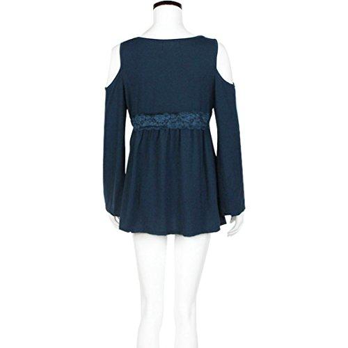 Transer ® Chemisier Femme,Sexy Womens manches longues en coton Bandage Casual vrac Tops Blouse Bleu/Noir/Blanc(S-XL) Bleu