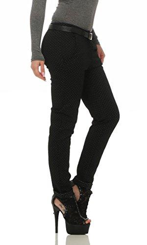 Fashion4Young Damen Hose Treggings Business Damenhose Streifen,Karo o. Punkte m. Gürtel Pants gepunktet-schwarz