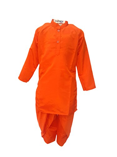 KFD Kids Dhoti Kurta in Orange color Indian state Traditional Wear Costume...