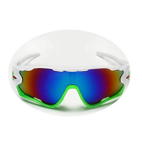 AnazoZ Gafas de Sol Gafas de Bicicleta Gafas de Montar Gafas Protectoras Deporte vrGafas Deportivas Gafas de Unisex Gafas Blanco Verde