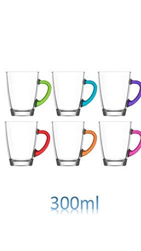 6 dickwandige Teegläser/Glühweingläser/Kaffeegläser Gläser mit Henkel 300ml