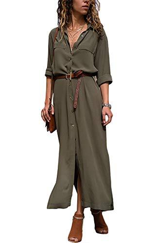 Yidarton Robe Femme Ete Col V Chic Chemise Robe à Manches Longues Couleur Unie (Vert, Medium)