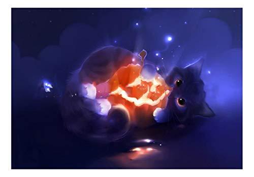 CJGD DIY Kosmische Halloween Kürbis Katze Tier Wohnzimmer Home 5D Diamant Malerei Kreuzstich Muster Wandaufkleber Set Mosaik Stickerei Malerei Handwerk, 55 * 83 cm (Halloween-kürbisse Handwerk Für Ideen)